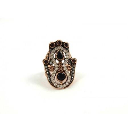 Ring Black Onyks Garnet Zirconia