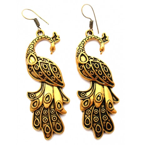 Oriental Golden Earrings Peacock