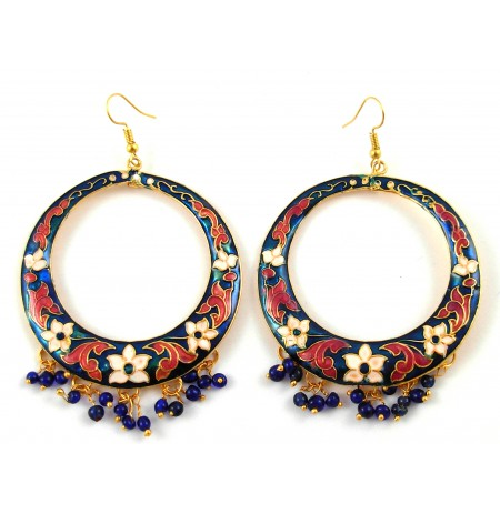 Oriental Earrings Multicolored Picture Flower