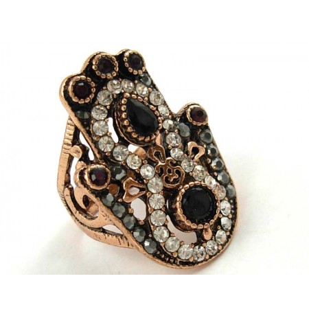 Ring Black Onyks Garnet Zirconia