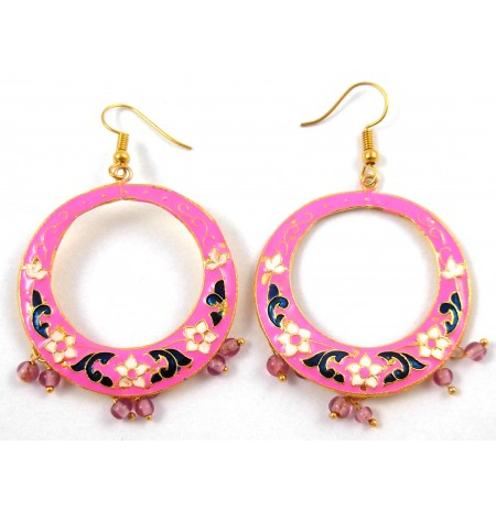 Oriental Earrings Multicolored Picture Flower